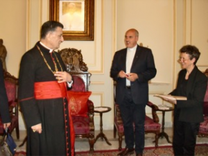 Patriarche Mgr RAI Père PETEUL et Caroline de Raimond